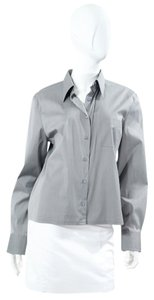 Chanel Silver Blouse Shirt Button Down Shirt Grey Gray