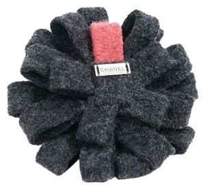 Chanel Chanel Charcoal Grey Black & Pink Wool Felted Bow Flower Camellia Pin Brooch