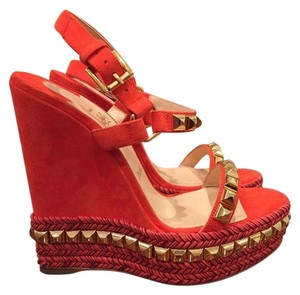 Christian Louboutin Cataclou Gold Stud Wedge orange Wedges