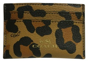Coach Coach Ocelot Card Case in tan