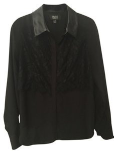 Prabal Gurung Faux Leather Lace Button Down Shirt Black
