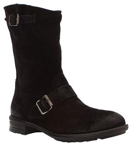 Paul Green Upper Side Zip Distressed Lugged Sole Black Suede Boots