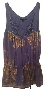 Be Seduced Embroidered Top Blue and Gold