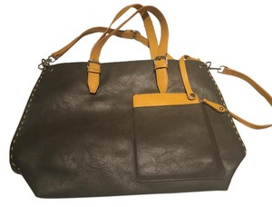 Shiraleah Leather Tote in Olive Green w/ Yellow Trim