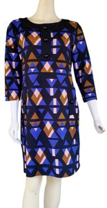 Just Taylor 3/4 Sleeve Geometric Blue Dress