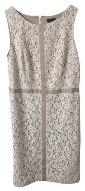 Item - Beige Nude White And Lace Ribbon Knee Length Formal Dress Size 0 (XS)