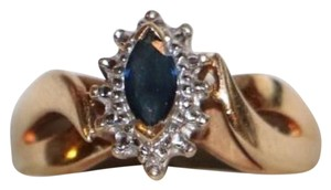 Other Synthetic Sapphire Diamond Ring - 10k Yellow Gold Ring