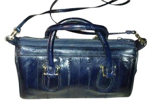 Eel Skin Satchel in navy blue