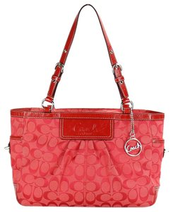 Coach 14281 Signature Jacquard Ew Gallery East West Tote in Cherry