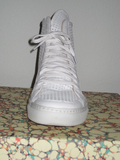 MM6 Maison Martin Margiela Leather Mesh High Top Sneaker White Athletic
