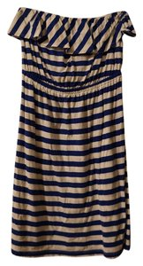 Old Navy short dress Blue and White Stripes Ruffle Strapless on Tradesy
