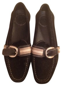 Bally Leather Office Buckle Tuxa Black Leather Flats