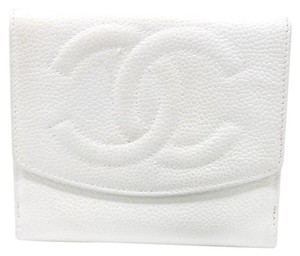 Chanel Chanel CC Caviar Lambskin Pebbled Camellia Leather Dual Bi-Fold Wallet