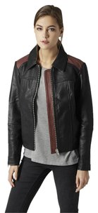 Topshop 70s Moto Leather Center Zip Motorcycle Jacket
