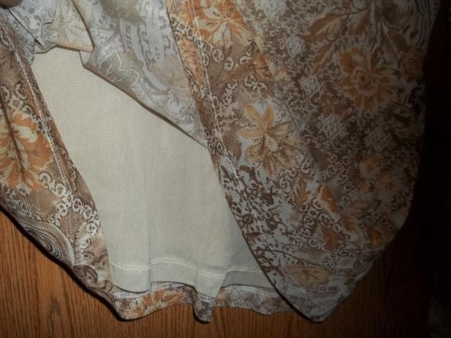 Bechamel Sheer Stretchy 3/4 Sleeve Lined 16-18 Xl Top Brown/Cream