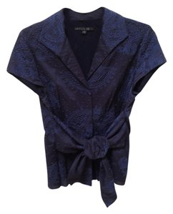 Lafayette 148 New York Hand Embroidered Top Navy