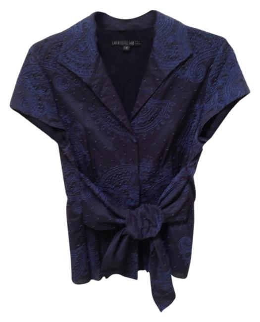 Lafayette 148 New York Hand Embroidered Saks Fifth Avenue Belted Top Navy