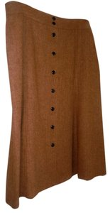 Talbots 100% Wool Herringbone Tweed Tan Wool Boxy Full A-line Full Designer Winter Warm Skirt Tan/Caramel