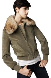 Theory Corduroy Fur Bomber Khaki Green Jacket