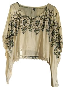 Free People Embroidered Top Cream