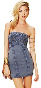 Free People short dress Blue Tube Embroidered Denim on Tradesy