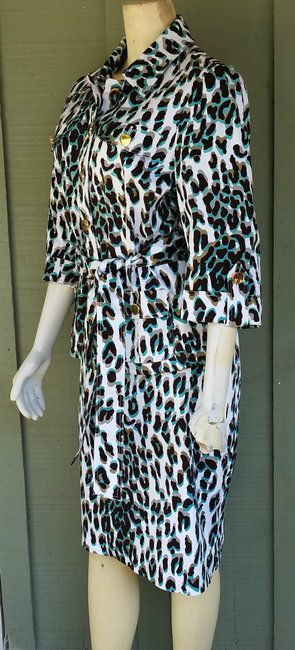Etcetera New ETCETERA Brown Aqua Leoaprd Print Skirt Suit 12/14