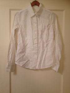 Isaac Mizrahi Stripes Office Button Down Shirt White