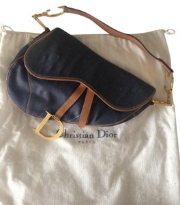 Dior Vintage Saddle Gold Jean Shoulder Bag