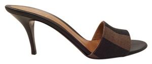 Fendi Classic Design Leather Italian Leather Size 8 1/2 Signature Black and Brown Stripe Mules