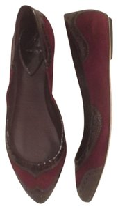 Brian Atwood Leather Suede Wingtips Pumps Patent Leather Burgundy Red Flats