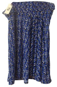 Max Studio Stretch Knit Foldover Waist Skirt Blue, Black, White Print
