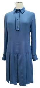 Marni short dress sky blue Silk Longsleeve Pleated Shirt Shift on Tradesy