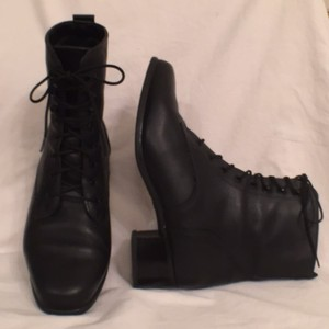 Blondo Lace Up Combat Granny Leather Black Boots