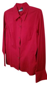 Liz Claiborne Cotton Lycra Button Down Shirt Fushsia Pink