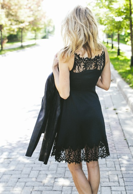 Free People Forget Me Not Fit & Flare Sz 6 Sm Black Dress