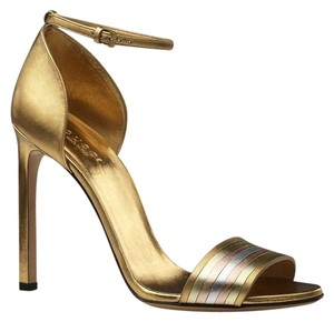 Gucci Gold Ankle Strap Heels Gold/8073 Sandals