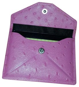 Emanuel Ungaro Pink Ostrich Leather Card Holder