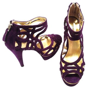 Nine West Knot Suede Cut-out Peep Toe Purple Platforms