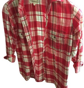 Current/Elliott Plaid Plaid Red Button Down Shirt red plaid