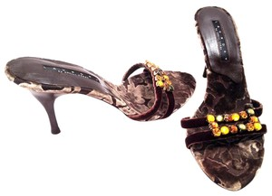 Laundry by Shelli Segal Jeweled Embellished Velvet Open Toe Multi-Color / Brown / Toffee Sandals