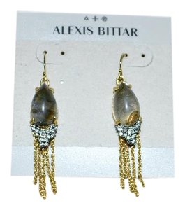 Alexis Bittar New ALEXIS BITTAR Crystal Gold Fringe Dangler Earrings Labradorite