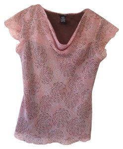 East 5th Essentials Floral Sheer Office Top Pink Floral