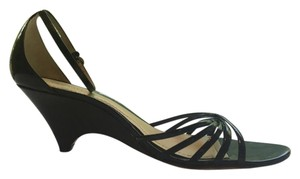 Ann Taylor Patent Leather Wedge Heel Strappy Black Sandals