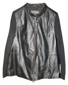 Jaclyn Smith Leather Knit Zip Front Motorcycle Jacket