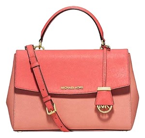 Michael Kors Leather Silver Pink Ava Satchel in Coral/Watermelon/Silver