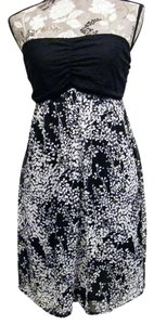 Express short dress Black & White Silk Floral on Tradesy