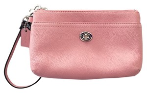 Coach Leather Turnlock Wristlet in Silver/Pink