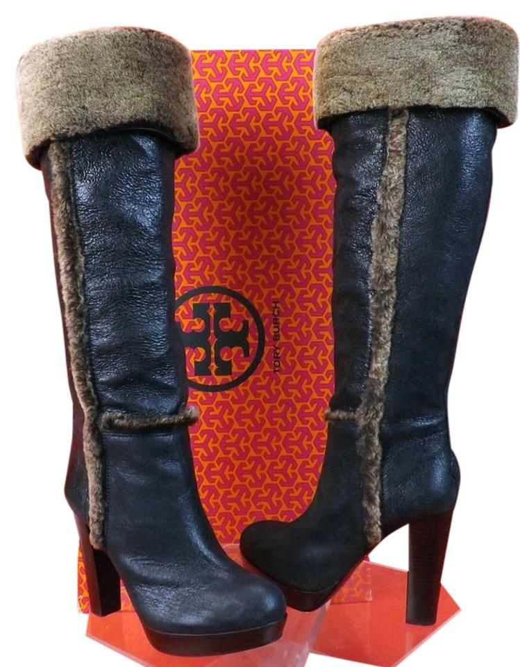 Tory Burch Black/Brown Distressed Shearling Leather Shearling Distressed Boots/Booties b0645b