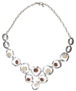 Hammered Discs Tiered Sterling Silver Plated Pewter Necklace