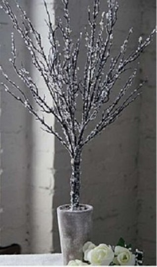 Crystal Brown Branches Clay Pot Painted White 11 Trees In Ceramic Centerpiece